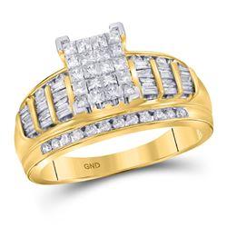 1/2 CTW Princess Diamond Cluster Bridal Wedding Engagement Ring 10kt Yellow Gold - REF-33Y6X