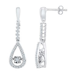 1/5 CTW Round Diamond Moving Twinkle Teardrop Dangle Earrings 10kt White Gold - REF-26W3F