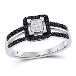 1/3 CTW Round Black Color Enhanced Diamond Cluster Ring 10kt White Gold - REF-18T3K