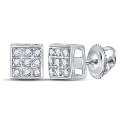 1/20 CTW Round Diamond Square Cluster Earrings 10kt White Gold - REF-6A5N