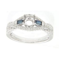 0.43 CTW Sapphire & Diamond Semi Mount Ring 14K White Gold - REF-41X3R
