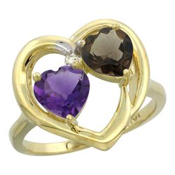 2.61 CTW Diamond, Amethyst & Quartz Ring 14K Yellow Gold - REF-33M9A