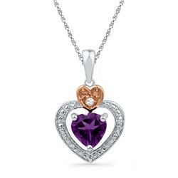 3/4 CTW Heart Lab-Created Amethyst & Diamond Heart Pendant 10kt Two-tone Gold - REF-5T9K