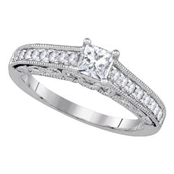 5/8 CTW Princess Diamond Solitaire Bridal Wedding Engagement Ring 14kt White Gold - REF-95N9Y