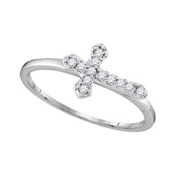 1/8 CTW Round Diamond Cross Faith Ring 10kt White Gold - REF-11W9F