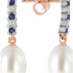 Genuine 8.3 ctw Sapphire, Pearl & Diamond Earrings 14KT Rose Gold - REF-28W8Y