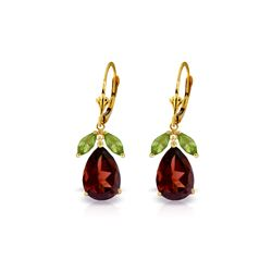 Genuine 13 ctw Garnet & Peridot Earrings 14KT Yellow Gold - REF-71M3T