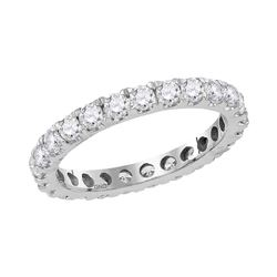 1 & 1/2 CTW Round Diamond Eternity Wedding Anniversary Ring 14kt White Gold - REF-99F6M