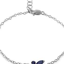 Genuine 0.60 ctw Sapphire Bracelet 14KT White Gold - REF-44A7K