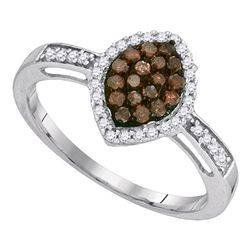 1/3 CTW Round Brown Diamond Oval Frame Cluster Ring 10kt White Gold - REF-15N3Y