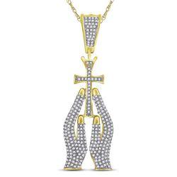 7/8 CTW Mens Round Diamond Praying Hands Cross Charm Pendant 10kt Yellow Gold - REF-57X5T