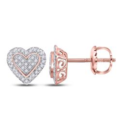 1/4 CTW Round Diamond Heart Earrings 10kt Two-tone Gold - REF-16F8M