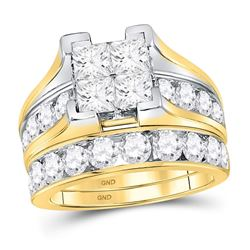 4 CTW Princess Diamond Bridal Wedding Engagement Ring 14kt Yellow Gold - REF-462A3N