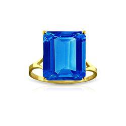 Genuine 7 ctw Blue Topaz Ring 14KT Yellow Gold - REF-44F3Z