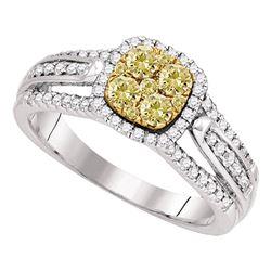 3/4 CTW Round Yellow Diamond Cluster Bridal Wedding Engagement Ring 14kt White Gold - REF-90Y3X