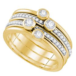 1/2 CTW Round Diamond Stackable Ring 10kt Yellow Gold - REF-47H9W