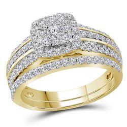 1 CTW Round Diamond Bridal Wedding Engagement Ring 14kt Yellow Gold - REF-87W5F