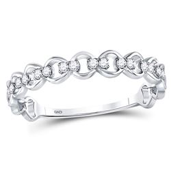 1/8 CTW Round Diamond Link Stackable Ring 10kt White Gold - REF-14X4T