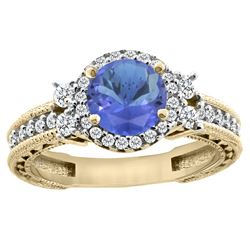 1.46 CTW Tanzanite & Diamond Ring 14K Yellow Gold - REF-96R3H