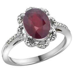 2.25 CTW Ruby & Diamond Ring 10K White Gold - REF-38F3N