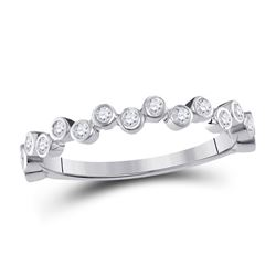 1/4 CTW Round Diamond Stackable Ring 10kt White Gold - REF-18R3H