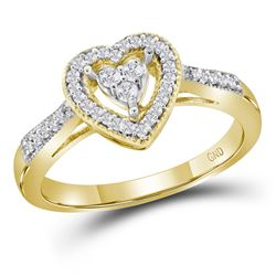 1/5 CTW Round Diamond Heart Cluster Ring 10kt Yellow Gold - REF-18Y3X