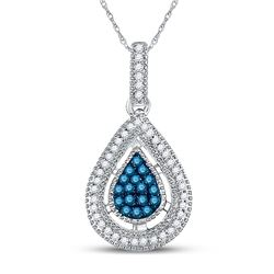 1/5 CTW Round Blue Color Enhanced Diamond Teardrop Cluster Pendant 14kt Yellow Gold - REF-16T8K