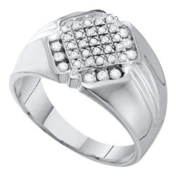 1/2 CTW Mens Round Diamond Diagonal Square Cluster Ring 10kt White Gold - REF-27N5Y