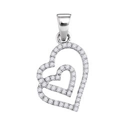 1/4 CTW Round Diamond Double Heart Pendant 10kt White Gold - REF-11A9N