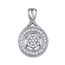 1/6 CTW Round Diamond Cluster Circle Pendant 10kt White Gold - REF-11H9W