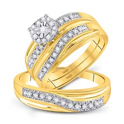 1/3 CTW Round Diamond Matching Trio Mens Wedding Bridal Ring 10kt Yellow Gold - REF-39R6H