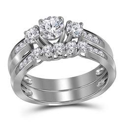 1 CTW Round Diamond 3-Stone Bridal Wedding Engagement Ring 14kt White Gold - REF-135Y6X