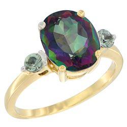 2.64 CTW Mystic Topaz & Green Sapphire Ring 14K Yellow Gold - REF-32X3M
