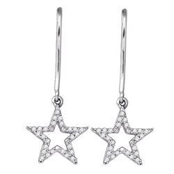 1/5 CTW Round Diamond Star Dangle Earrings 10kt White Gold - REF-15T5K
