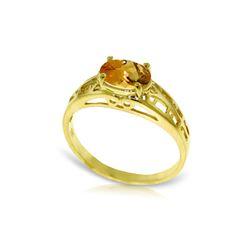 Genuine 1.15 ctw Citrine Ring 14KT Yellow Gold - REF-32F3Z