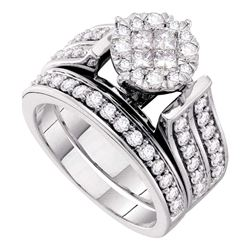 1 & 1/3 CTW Princess Diamond Bridal Wedding Engagement Ring 14kt White Gold - REF-131A9N