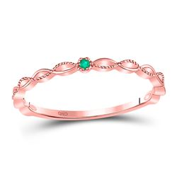 0.01 CTW Round Emerald Solitaire Milgrain Stackable Ring 10kt Rose Gold - REF-9R6H