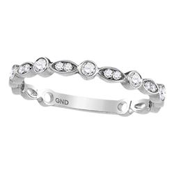 1/6 CTW Round Diamond Vintage Inspired Stackable Ring 14kt White Gold - REF-15T5K