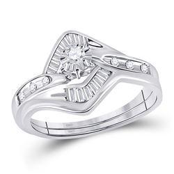 1/4 CTW Round Diamond Bridal Wedding Engagement Ring 14kt White Gold - REF-35K9R