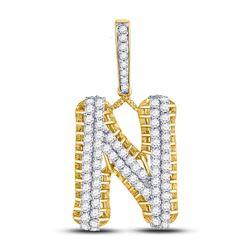 1 & 1/2 CTW Mens Round Diamond N Letter Charm Pendant 10kt Yellow Gold - REF-90T3K