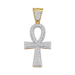 1 CTW Mens Round Diamond Ankh Flared Cross Charm Pendant 10kt Yellow Gold - REF-63X5T