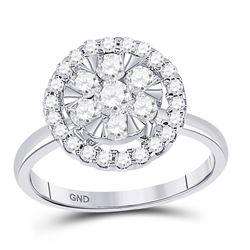 1 CTW Round Diamond Halo Flower Cluster Ring 14kt White Gold - REF-81H5W
