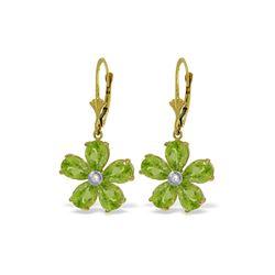 Genuine 4.43 ctw Peridot & Diamond Earrings 14KT Yellow Gold - REF-49W8Y