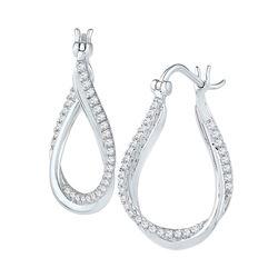 1/2 CTW Round Diamond Oval Hoop Earrings 10kt White Gold - REF-41K9R