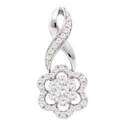 1/2 CTW Round Diamond Twist Flower Cluster Pendant 14kt White Gold - REF-41H9W
