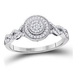 1/5 CTW Round Diamond Concentric Milgrain Circle Cluster Ring 10kt White Gold - REF-18Y3X