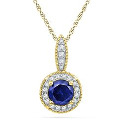 1/6 CTW Round Lab-Created Blue Sapphire Solitaire Diamond Frame Pendant 10kt Yellow Gold - REF-14A4N