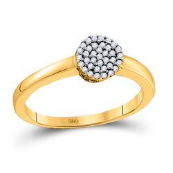 1/8 CTW Round Diamond Cluster Ring 10kt Yellow Gold - REF-11W9F