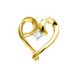 1/20 CTW Round Diamond Solitaire Heart Pendant 10kt Yellow Gold - REF-8W4F