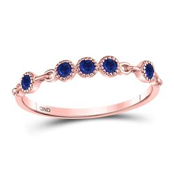 1/5 CTW Round Blue Sapphire Dot Stackable Ring 10kt Rose Gold - REF-9X6T